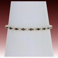 "Sapphire & Diamond Tennis Bracelet 7"" - 14k Yellow Gold Marquise 4.40ctw"