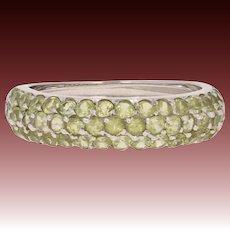 Peridot Band Ring - 18k White Gold Size 7 1/2 Round Brilliant 2.75ctw