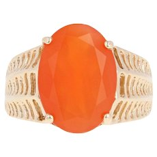 Mexican Fire Opal Ring - 10k Yellow Gold Solitaire Oval 3.36ct