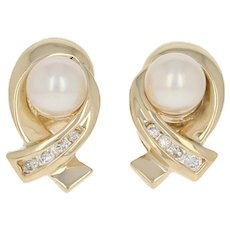 Cultured Pearl & Diamond Stud Earrings - 14k Gold Pierced Round Brilliant .16ctw
