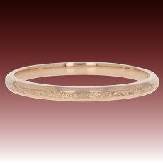 """Art Deco Etched Bangle Bracelet 9"""" - 9k Rose Gold Vintage Botanical Design"""