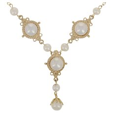 """Cultured Pearl Drop Necklace 17"""" - 14k Yellow Gold Cable Chain"""