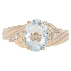 Aquamarine & Diamond Ring - 14k Yellow Gold Bypass Oval 1.56ctw