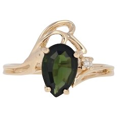 1.34ctw Pear Chrome Diopside & Diamond Bypass Ring - 14k Yellow Gold