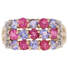 8ac0c2387cd83c Pink Tourmaline, Tanzanite, & Diamond Ring - 14k Gold Round Brilliant  1.43ctw