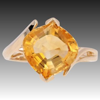 4.00ct Fantasy Cut Citrine Ring - 14k Yellow Gold Solitaire Bypass