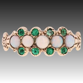 Victorian Opal & Green Glass Ring - 10k Yellow Gold Antique Size 6