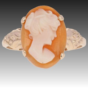 Vintage Carved Shell Cameo Ring - 10k Yellow Gold Woman's Silhouette Size 6 1/2