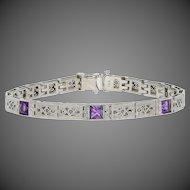 """.60ctw Art Deco Amethyst Link Bracelet 6 1/4"""" - 18k White Gold Vintage Filigree"""