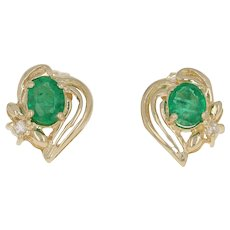 .60ctw Oval Emerald & Diamond Earrings - 14k Yellow Gold Pierced Studs