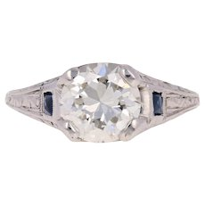 1.85ct Euro Diamond & Synthetic Sapphire Art Deco Engagement Ring - 20k Gold GIA