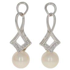 8.2mm Akoya Pearl & Diamond Earrings - 14k White Gold Pierced Dangles