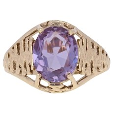 3.00ct Oval Cut Synthetic Color Change Sapphire Ring -10k Yellow Gold Size 6 1/2