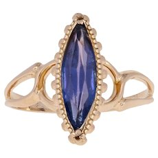Simulated Sapphire Vintage Ring - 10k Yellow Gold Solitaire Size 4