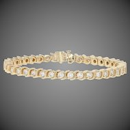 "3.90ctw Round Brilliant Diamond Tennis Bracelet 6 1/2"" - 14k Yellow Gold Women's"