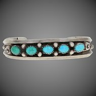 "Oval Cabochon Cut Turquoise Native American Bracelet 6"" - Sterling Silver Cuff"