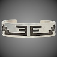 "Native American Cuff Bracelet 6"" - Sterling Silver Women's Signed JLC"
