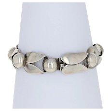 """Vintage Napier Link Bracelet 6 3/4"""" - Sterling Silver Leaves"""
