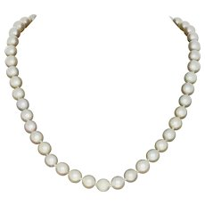 """7.2mm - 7.6mm Cultured Pearl Necklace 16"""" - 14k White Gold Knotted Strand"""