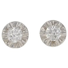 .10ctw Round Brilliant Diamond Earrings - 18k White Gold Floral Pierced Studs