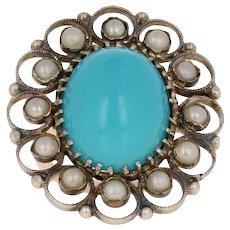 Simulated Turquoise & Simulated Pearl Vintage Ring - Silver & 10k Gold Halo
