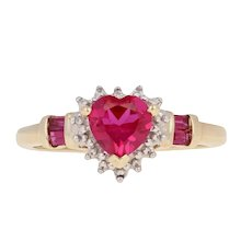 1.25ctw Heart Cut Synthetic Ruby Ring - 10k Yellow Gold Diamond-Accented Halo
