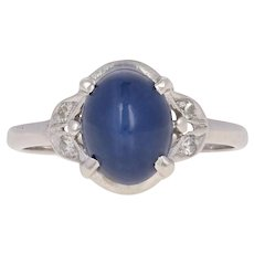 2.45ctw Synthetic Star Sapphire & Diamond Vintage Ring - 10k White Gold Milgrain