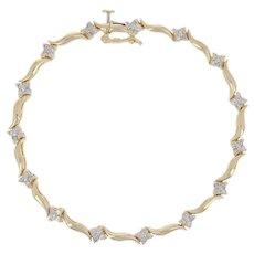 ".60ctw Round Brilliant Diamond Bracelet 7"" - 14k Yellow Gold Floral Link"