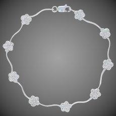 ".13ctw Single Cut Diamond Bracelet 6 1/2"" - 10k White Gold Wavy Floral Link"