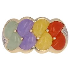 Cabochon Cut Multi-Color Jadeite Ring - 14k Gold Diamond Accents Size 8 - 8 1/4