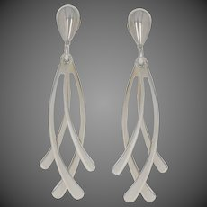 Milor Curved Dangle Earrings - 14k White Gold Pierced