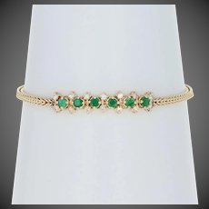 "1.17ctw Round Cut Emerald & Diamond Bracelet 6 3/4"" - 14k Yellow Gold Foxtail"