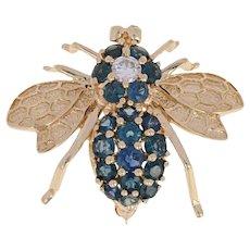 2.92ctw Round Cut Sapphire & Diamond Bumble Bee Brooch/Pendant 14k Yellow Gold