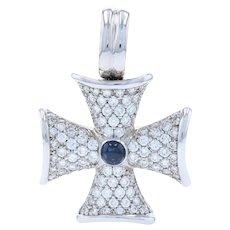 White Gold Sapphire Diamond Bolnisi Cross Enhancer Pendant 18k Cabochon 4.70ctw