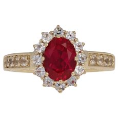 2.50ctw Synthetic Ruby & Synthetic White Sapphire Ring - 10k Gold Cathedral Halo