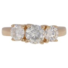 Round Cut Moissanite Engagement Ring - 14k Yellow Gold Three-Stone Trellis