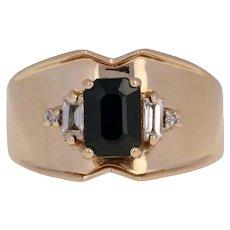 1.22ctw Rectangle Cut Blue & White Sapphire & Diamond Ring 14k Yellow Gold