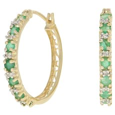 1.04ctw Round Cut Emerald & Diamond Earrings - 14k Yellow Gold Pierced Hoops