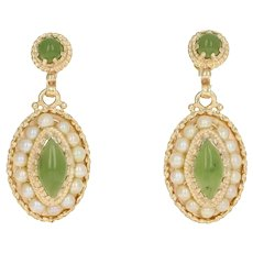 Marquise Cabochon Nephrite Jade & Pearl Earrings - 14k Gold Halo Pierced Dangles