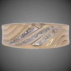 Single Cut Diamond-Accented Wedding Band - 10k Yellow Gold Men's Ring