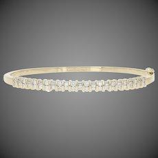 "1.00ctw Round Brilliant & Baguette Diamond Bracelet 7"" - 14k Gold Oval Bangle"