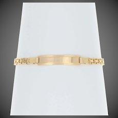 "Engravable ID Tag Bracelet 6 3/4"" - 18k Yellow Gold Bismark Chain"