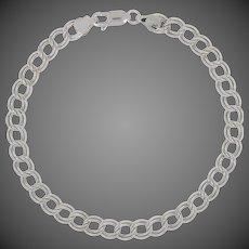"Double Curb Chain Bracelet 7 1/2"" - 14k White Gold Starter Charm Italy"