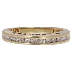 .10ctw Single Cut Diamond Wedding Band 10k Gold Channel-Set Women's Ring 5 3/4