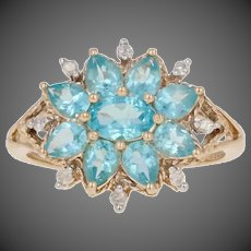 1.58ctw Oval Cut Apatite & Diamond Ring - 10k Yellow Gold Floral Halo