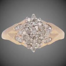 .25ctw Single Cut Diamond Ring - 10k Yellow Gold Cluster Size 7 - 7 1/4