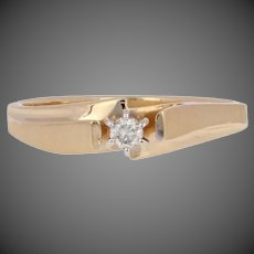 Round Brilliant Diamond Engagement Ring - 10k Yellow Gold Solitaire Bypass