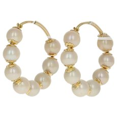 Cultured Pearl Hoop Earrings - 18k Yellow Gold Pierced Italian Hoops