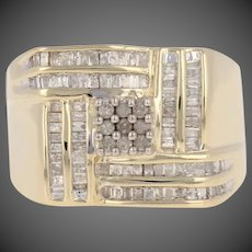 .50ctw Single & Baguette Cut Diamond Men's Ring - 14k Yellow Gold Cluster Woven