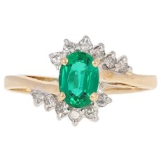 1.03ctw Oval Cut Synthetic Emerald & Diamond Ring - 14k Yellow Gold Bypass
